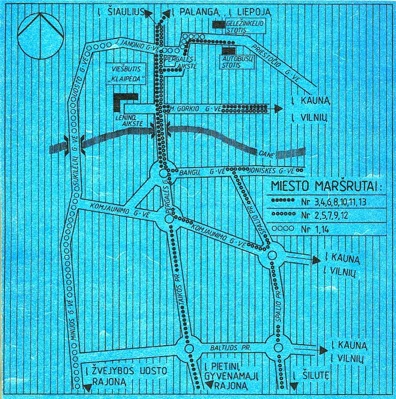 Схема городских автобусных маршрутов.